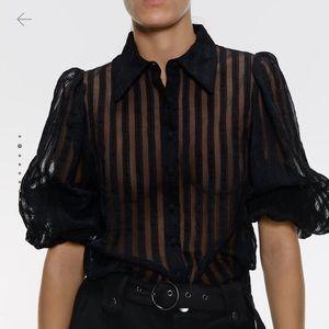 NWT Zara black striped organza blouse: Medium